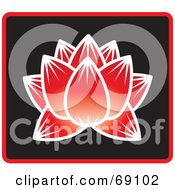 Royalty Free RF Clipart Illustration Of A Beautiful Red Lotus Flower On Black With Blue Trim by Rosie Piter