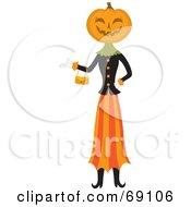 Pumpkin Head Woman Carrying A Purse