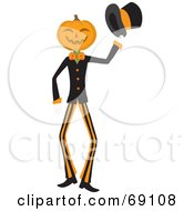 Pumpkin Head Man Holding Out His Hat