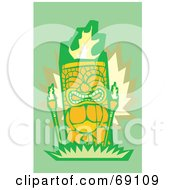 Royalty Free RF Clipart Illustration Of An Orange Tiki With Torches On A Green Background by xunantunich