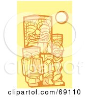 Royalty Free RF Clipart Illustration Of A Group Of Tikis On A Yellow Background by xunantunich