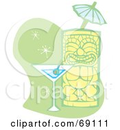 Royalty Free RF Clipart Illustration Of A Happy Tiki With A Martini And Umbrella On A Green And White Background by xunantunich