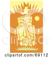 Royalty Free RF Clipart Illustration Of A Yellow Tiki Face With Torches On An Orange Background by xunantunich