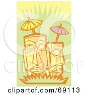 Royalty Free RF Clipart Illustration Of Two Tikis With Umbrellas On A Green Background by xunantunich