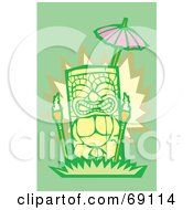 Royalty Free RF Clipart Illustration Of A Yellow Tiki With Torches On A Green Background by xunantunich