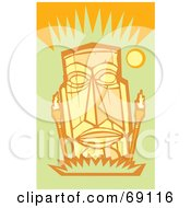 Royalty Free RF Clipart Illustration Of A Yellow Tiki Face With Torches On An Orange AndGreen Background by xunantunich