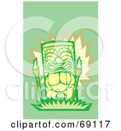 Royalty Free RF Clipart Illustration Of A Green And Yellow Happy Tiki With Torches On A Green Background by xunantunich