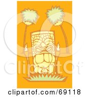 Royalty Free RF Clipart Illustration Of A Yellow Tiki With Torches And Palm Trees On An Orange Background by xunantunich
