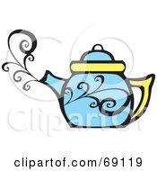 Royalty Free RF Clipart Illustration Of A Steamy Blue Tea Pot by xunantunich