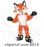 Clipart Picture Of A Fox Mascot Cartoon Character by Toons4Biz