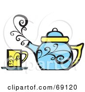 Royalty Free RF Clipart Illustration Of A Steamy Blue Tea Pot By A Yellow Cup