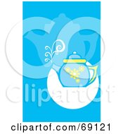 Royalty Free RF Clipart Illustration Of A Steaming Blue Tea Pot On A Blue And White Background by xunantunich