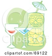 Royalty Free RF Clipart Illustration Of A Happy Tiki With Wine A Martini And Umbrella On A Green And White Background by xunantunich