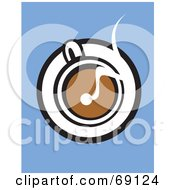 Royalty Free RF Clipart Illustration Of A View Down On A Steamy Cup Of Coffee On A Saucer Over Blue by xunantunich