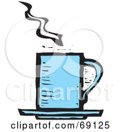 Royalty Free RF Clipart Illustration Of A Steamy Tall Blue Coffee Cup by xunantunich