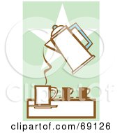 Royalty Free RF Clipart Illustration Of A Coffee Percolator Pouring Into A Cup Over A Star