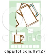 Royalty Free RF Clipart Illustration Of A Coffee Percolator Pouring Into A Cup Over Squares