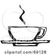 Royalty Free RF Clipart Illustration Of A Steamy Coffee Cup On A Saucer Black And White by xunantunich