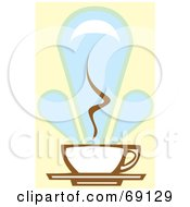 Steamy White And Brown Coffee Cup On A Blue And Yellow Background
