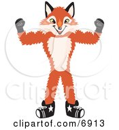 Clipart Picture Of A Fox Mascot Cartoon Character Flexing His Arm Muscles by Toons4Biz