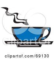 Royalty Free RF Clipart Illustration Of A Steamy Blue Coffee Cup On A Saucer by xunantunich