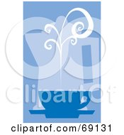Royalty Free RF Clipart Illustration Of A Steamy Coffee Cup In Front Of A Percolator On Blue