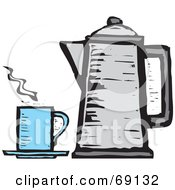 Royalty Free RF Clipart Illustration Of A Gray Percolator By A Blue Cup Of Coffee