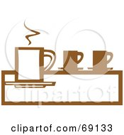 Royalty Free RF Clipart Illustration Of A Tall Brown And White Steamy Coffee Cup On A Counter by xunantunich