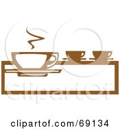 Royalty Free RF Clipart Illustration Of A Small Brown And White Steamy Coffee Cup On A Counter by xunantunich