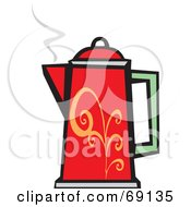 Royalty Free RF Clipart Illustration Of A Red Green And Orange Coffee Percolator With Steam