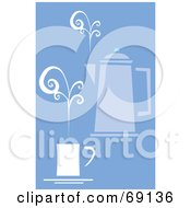 Royalty Free RF Clipart Illustration Of A Coffee Percolator With A Steamy Cup On Blue