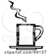 Royalty Free RF Clipart Illustration Of A Black And White Rectangular Steamy Cup Of Coffee by xunantunich