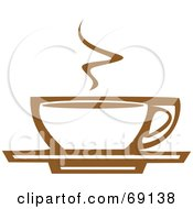 Steamy White And Brown Coffee Cup On A Saucer