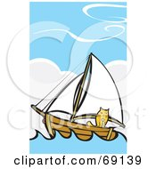 Royalty Free RF Clipart Illustration Of A Cat On A Sailboat At Sea