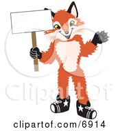Clipart Picture Of A Fox Mascot Cartoon Character Holding A Blank White Sign by Toons4Biz