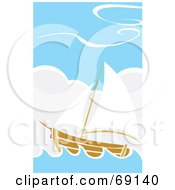 Royalty Free RF Clipart Illustration Of A Sailing Ship In The Blue Sea