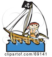 Royalty Free RF Clipart Illustration Of A Pirate Girl With A Sword On A Ship by xunantunich