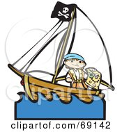 Royalty Free RF Clipart Illustration Of A Pirate Boy With A Treasure Map On A Ship by xunantunich