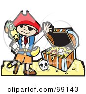 Royalty Free RF Clipart Illustration Of A Waving Pirate Boy With A Parrot In Front Of A Treasure Chest