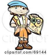 Royalty Free RF Clipart Illustration Of A Pirate Boy Holding A Treasure Map by xunantunich