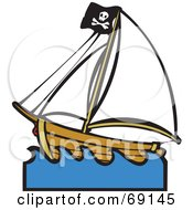 Royalty Free RF Clipart Illustration Of A Deserted Pirate Ship In Blue Waves by xunantunich