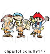 Royalty Free RF Clipart Illustration Of Three Pirate Children With A Treasure Map by xunantunich