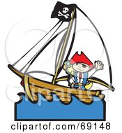 Waving Pirate Boy With A Parrot On A Ship