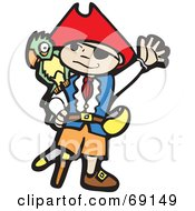 Royalty Free RF Clipart Illustration Of A Waving Boy Pirate With A Peg Leg And Parrot by xunantunich