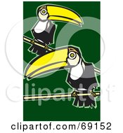 Royalty Free RF Clipart Illustration Of Two Perched Toucans Over A Green Background