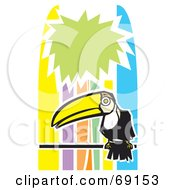 Royalty Free RF Clipart Illustration Of A Perched Toucan Over A Colorful Tropical Background by xunantunich