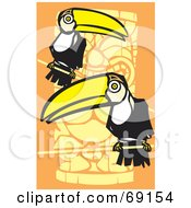 Royalty Free RF Clipart Illustration Of Two Perched Toucans Over An Orange Totem Pole Background