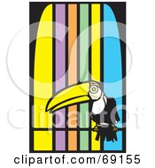 Royalty Free RF Clipart Illustration Of A Perched Toucan Over A Colorful Striped Background by xunantunich