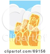 Royalty Free RF Clipart Illustration Of A Line Of Three Orange Moai Statues by xunantunich