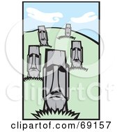 Royalty Free RF Clipart Illustration Of A Hillside Of Moai Statues by xunantunich